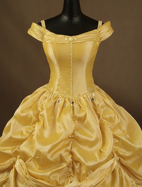 Beauty and the beast belle adult cosplay costume gown dress for Wedding dress like belle from beauty and the beast