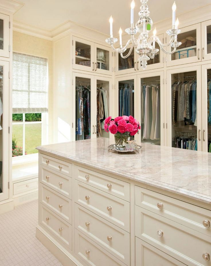 Walk in closet with island house interior pinterest for Homes with walk in closets