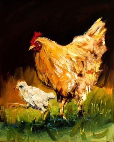 ARTOUTWEST DIANE WHITEHEAD Animal art oil painting Hen and Chick, painting by artist Diane Whitehead
