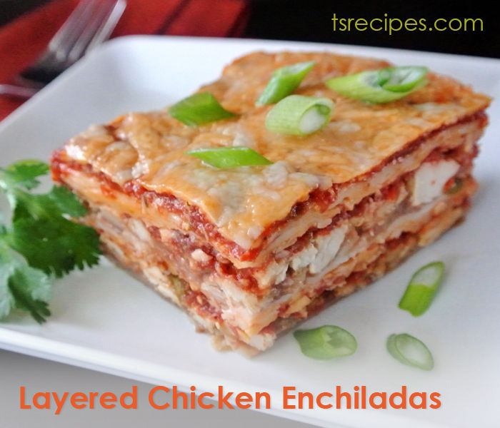 Layered Chicken Three-Cheese Enchilada Recipe — Dishmaps
