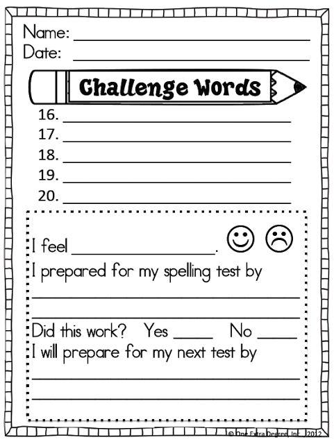accountability spelling test prep list 15 words 5 bonus words says
