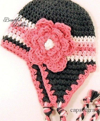 Crochet Earflap Hat : Crochet Hat PATTERN Photo Prop Baby Earflap Hat with Triple Flower PD ...