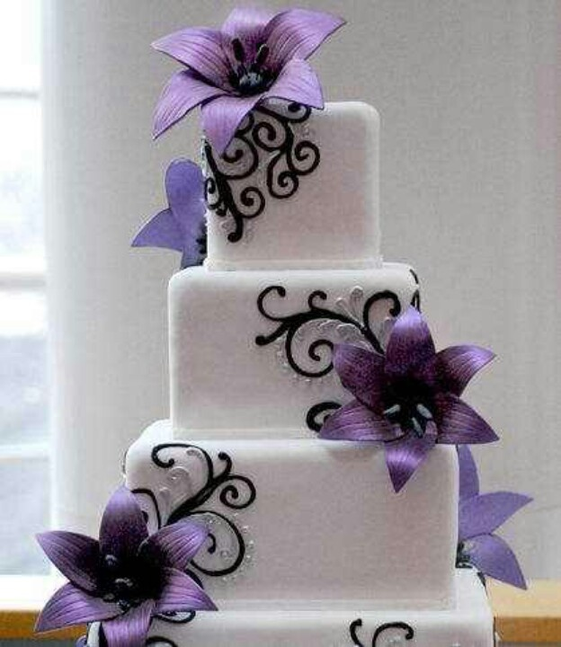 Purple And Black Wedding Cake Wedding Stuff Pinterest