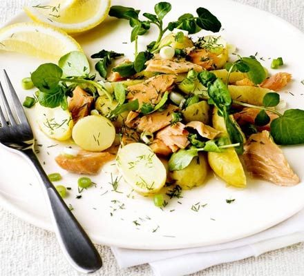 New potato, trout & lemon herb salad Lunch any day after having new ...