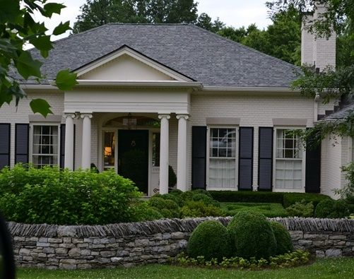 Greige Off White Painted Brick House Exteriors Pinterest