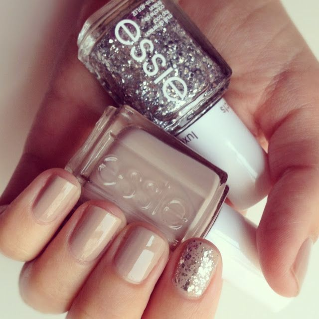 Glitter and nude manicure