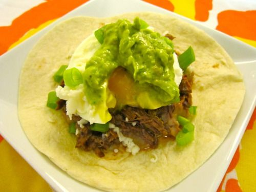 Eggs Barbacoa with Refried Beans