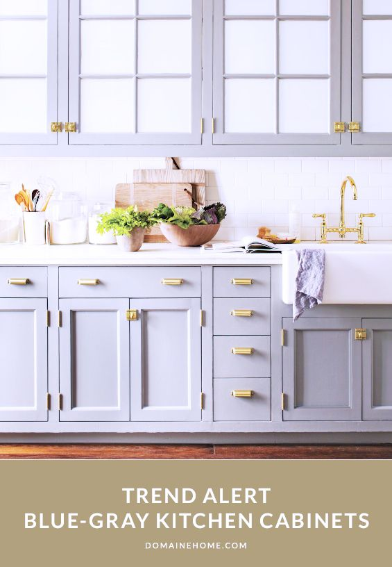 Trend Alert: Blue-Gray Kitchen Cabinets  Whit- I can't repaint mine, but the could be a cool option for you