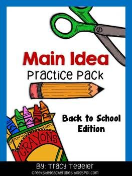 Back to School Main Idea Practice Pack {Fiction & Nonficti