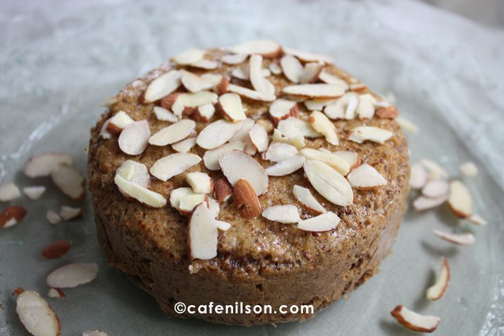 Flourless, sugarless Almond Cake. She substituted sugar free syrup for ...