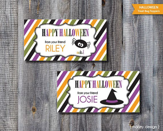 Halloween Treat Bag Toppers Personalized DIY Party Favors Printable P ...