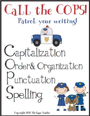 Cops Packet. Clever acrostic for writing.