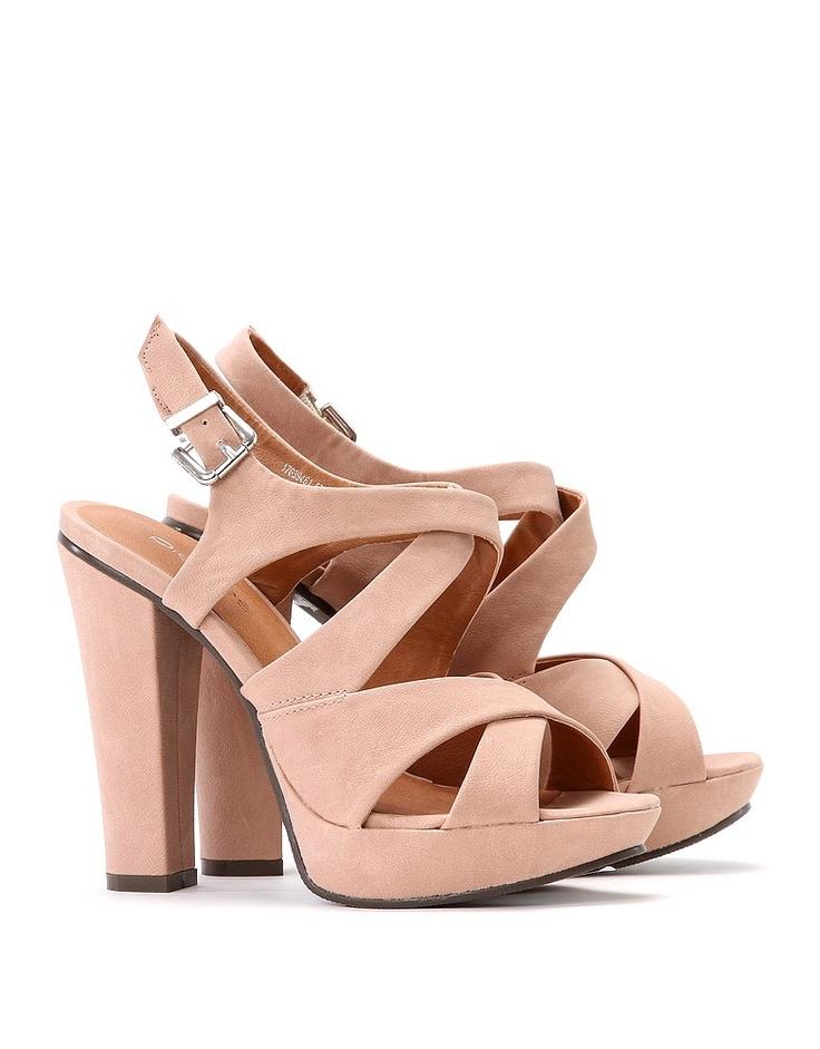 Sandalias tacón cuadrado rosa palo