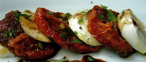 Winter Caprese Salad Roasted tomatoes, oregano and balsamic vinegar ...