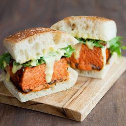 Blackened salmon sandwich with arugula and aioli. #foodgawker