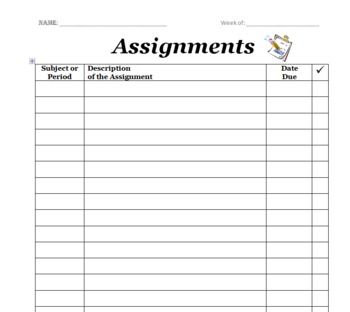 assignment sheet for students