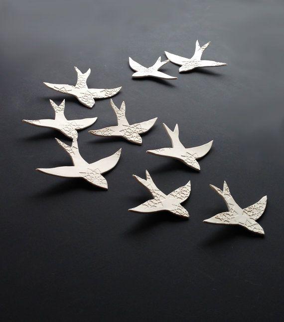 Porcelain wall art swallows over morocco bird wall for Ceramic wall art