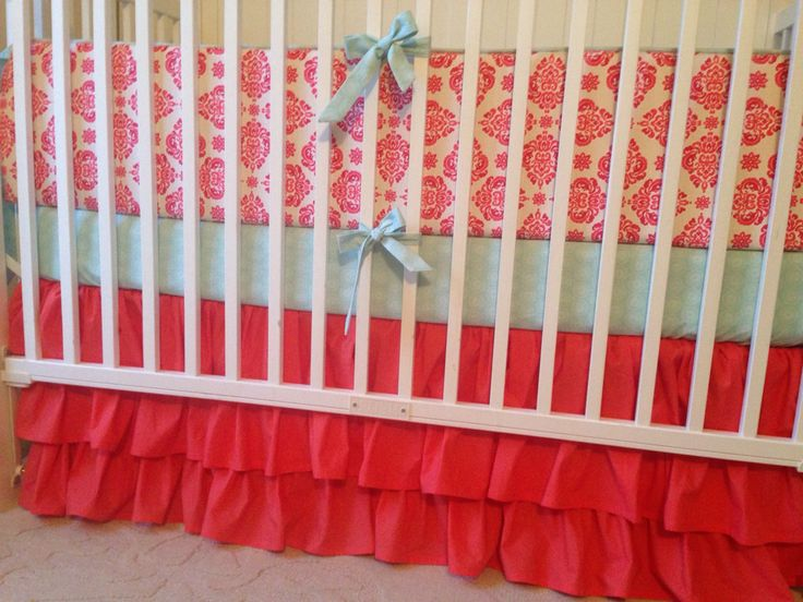 Crib Bedding Set Coral Damask And Mint Green Made To Order