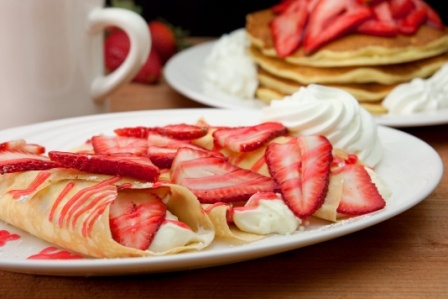 Strawberry Cheesecake Crepes: breakfast or dessert treat?