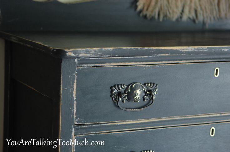 Black dresser chalk paint alternative vintage look - Black chalk paint dresser ...