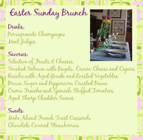 Easter sunday brunch easter ideas pinterest for Easy easter menu ideas