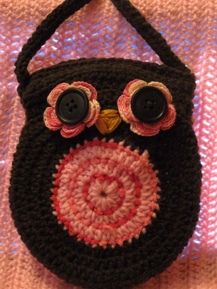 crochet cute little owl purse Corujinhas Pinterest