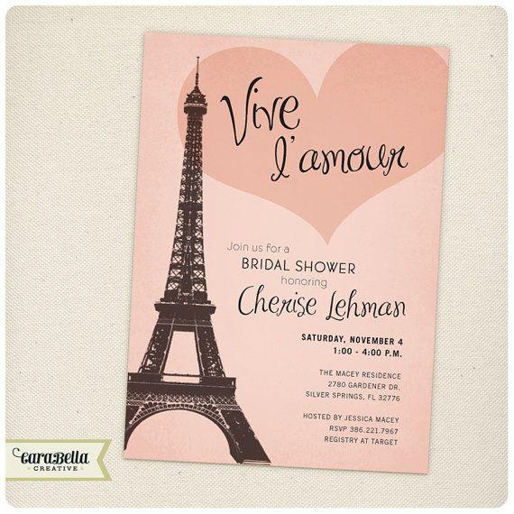 Paris Bridal Shower Invitation Printable by CaraBellaCreative
