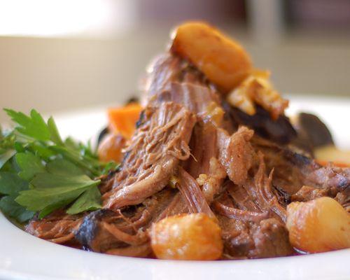 Braised Brisket of Beef. Braised brisket with natural au jus, turnips ...