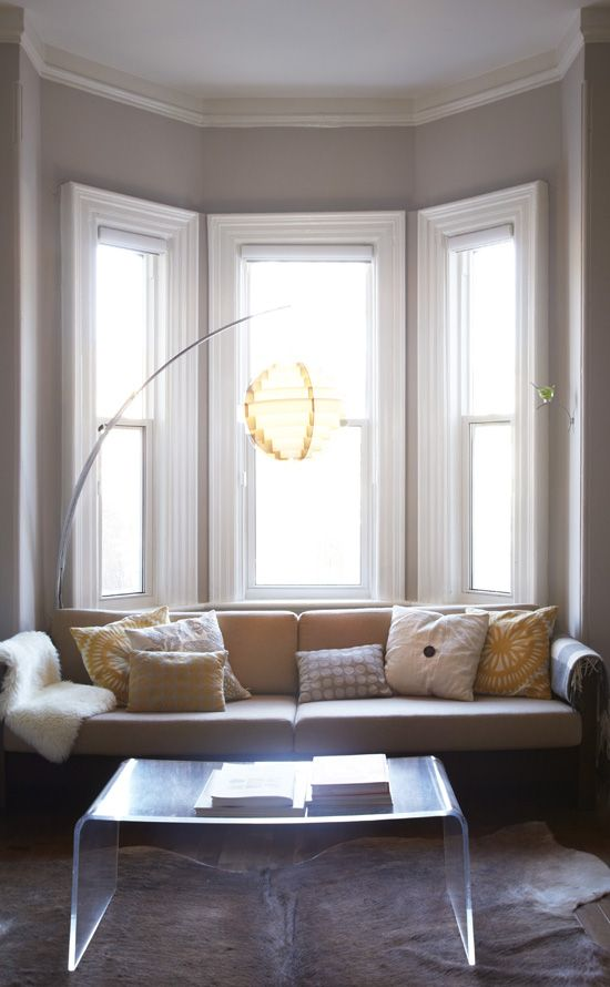 couch in bay window light living room pinterest