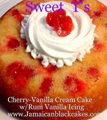 Sweet T's yummy Cherry-Vanilla Rum cake 8inch, Whole juicy Cherries in ...