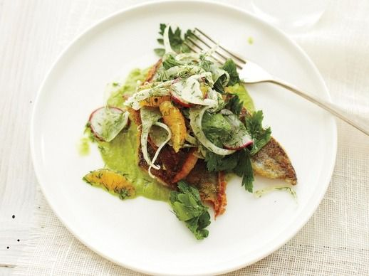 Sauteed Georgia Trout with Watercress Puree and Mandarin Salad.