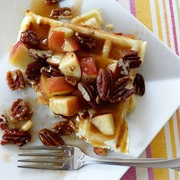 Waffles with Apple Cider Syrup and Pecans- perfect surprise to bring a ...