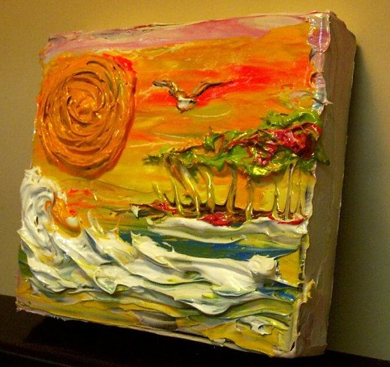 Thick acrylic palette knife tequila sunrise ii impasto for Palette knife painting acrylic