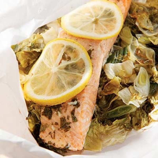 Salmon & Escarole Packets with Lemon-Tarragon Butter | KitchenDaily ...