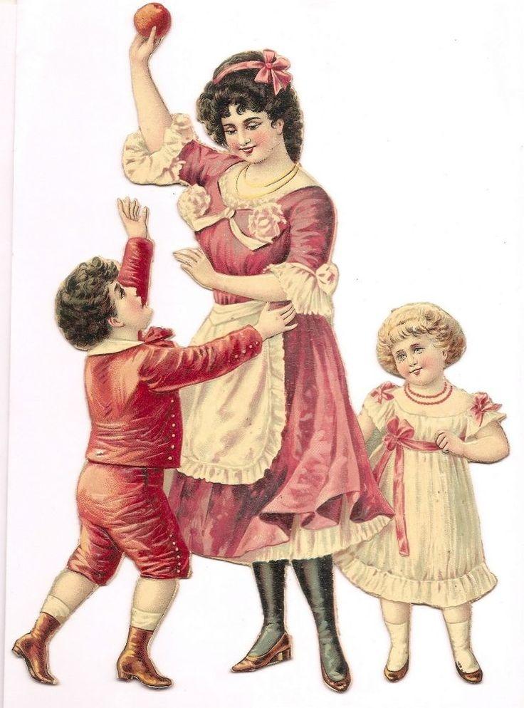 La Pomme - Enfant Maman Jeu - Grand Chromo Decoupi Cartonnée - Victorian Scrap