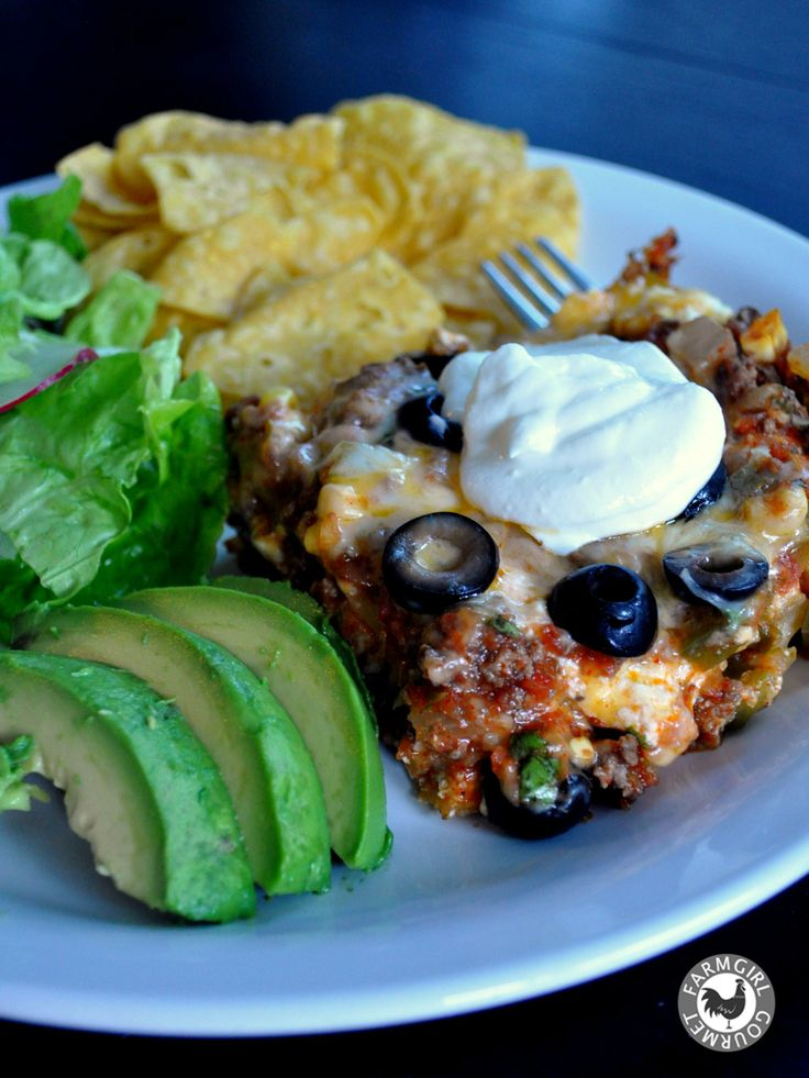Mexican Lasagna ~ with ground beef, this sounds yummy!