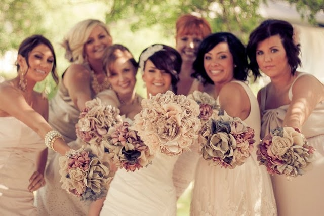 Fabric bouquets! Love it!