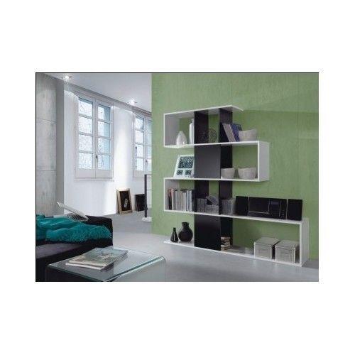 Contemporary bookcase white gloss modern shelving unit - Modern white shelving unit ...