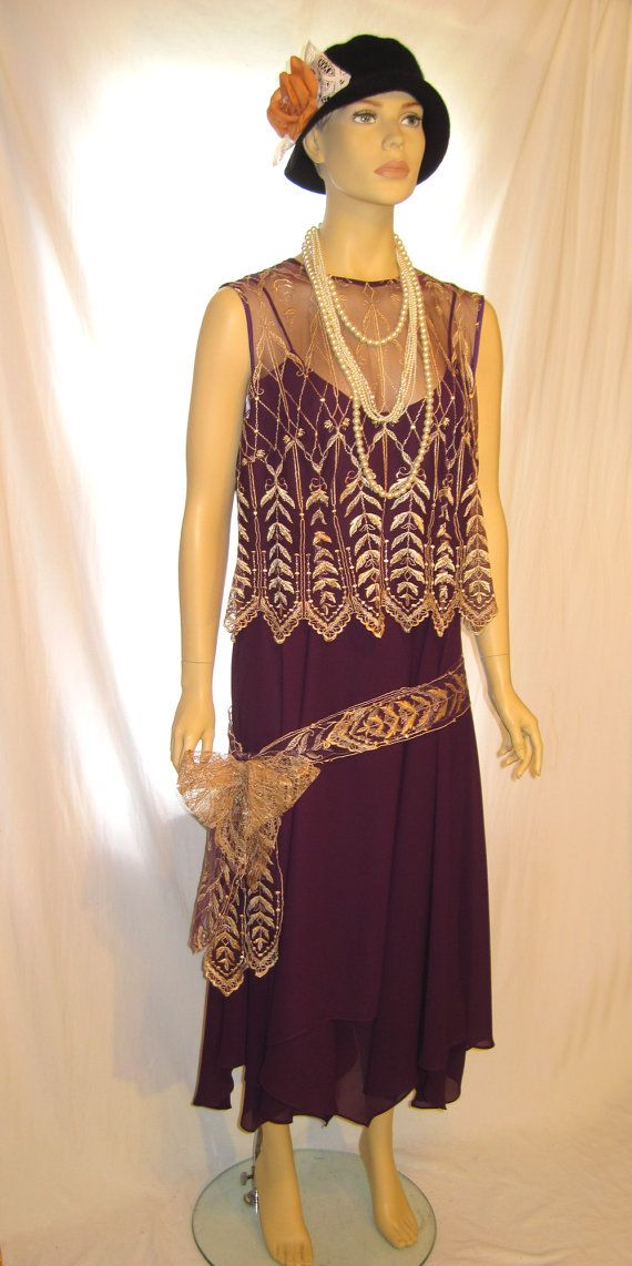 Purple color plus size the great gatsby dress costume size 14 16