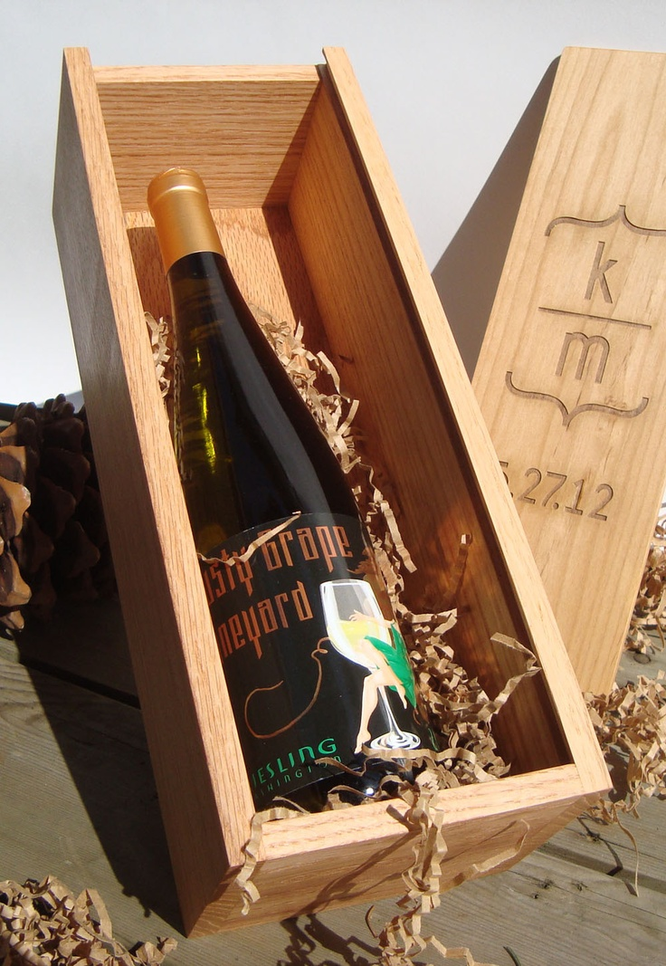 Personalized engraved wood wine box wedding wine box for Timber wine box