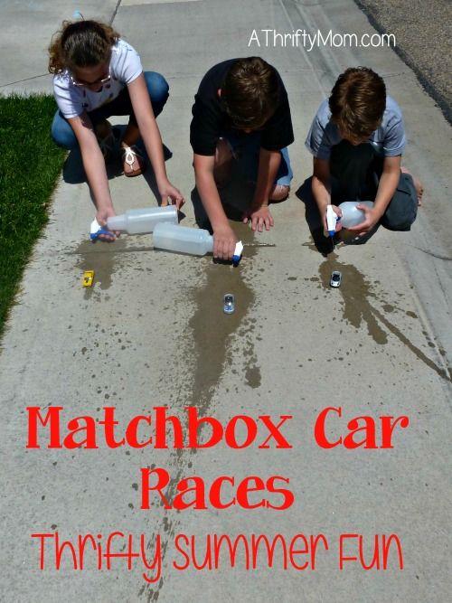 matchbox car races, thrifty summer fun, #summer, #water, #cars, #matchboxcarraces, #waterplay, #squirtbottle, #thriftysummerfun, #boredombus...