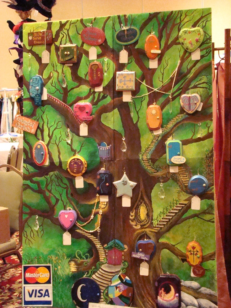 Fairy tree mural with fairy doors my acrylic paintings for Fairy garden mural