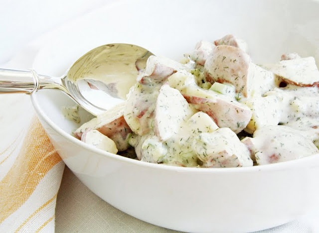 Potato salad with dill and yogurt. My new favorite!