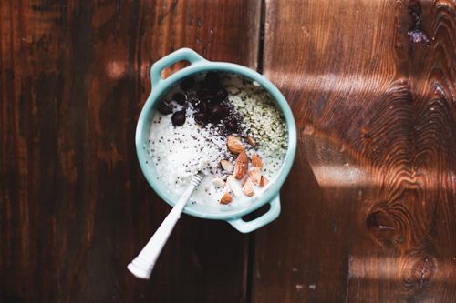 steel cut oats with almonds coconut chocolate chips hemp seeds flax ...