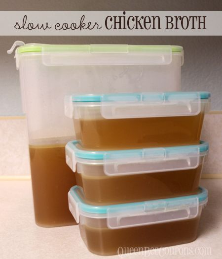 Slow Cooker Crockpot Chicken Broth (I used a Costco rotisserie chicken ...