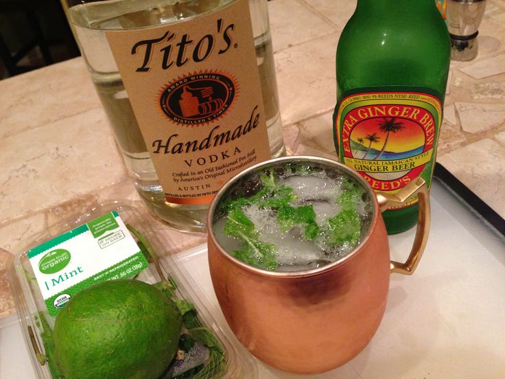 ... vodka, 1 oz fresh lime juice, Fresh mint, Ice, and Ginger beer to top