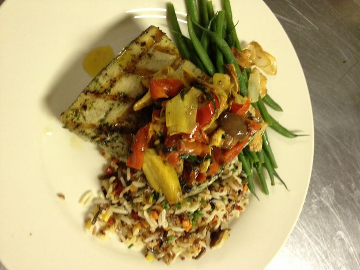 Chef's grilled herb marinated swordfish with a Tuscan roasted red ...