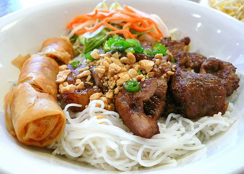 bun thit nuong!!!! grilled caramelised pork belly, rice noodles and ...
