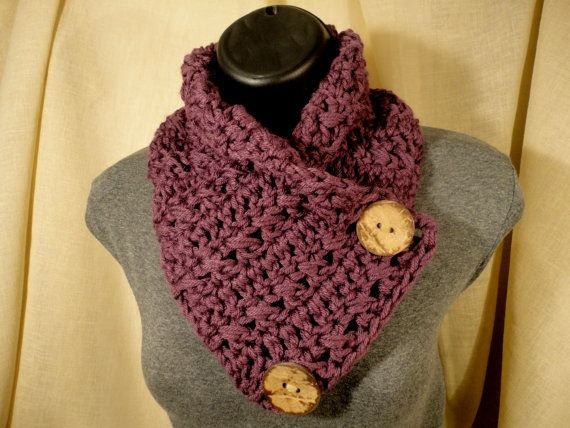 Free Crochet Neck Warmer Cowl Patterns : Crochet Scarf Cowl Neck Warmer with Buttons Mulberry Purple