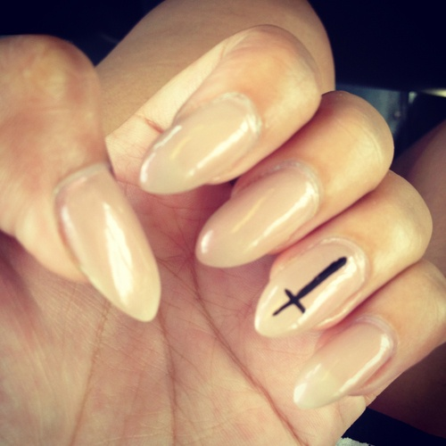 Black nails with crosses
